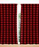 Cheap AllTot Red and Black Buffalo Plaid Curtain Panels set 84″ by Handmade in The USA