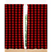 AllTot Red and Black Buffalo Plaid Curtain Panels set 84  by Handmade in The USA