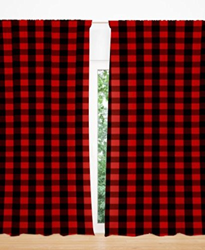 AllTot Red and Black Buffalo Plaid Curtain Panels set 84
