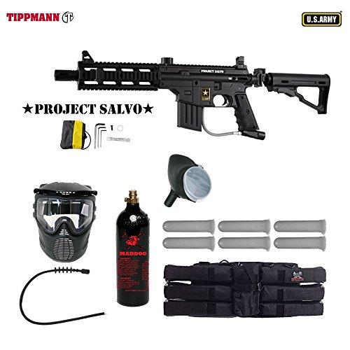 MAddog Tippmann U.S. Army Project Salvo Titanium Paintball Gun Package - Black (Shroud Barrel Flatline)