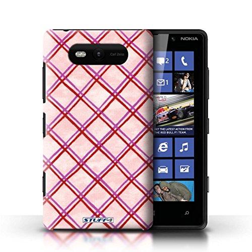 Etui / Coque pour Nokia Lumia 820 / Rose/Rouge conception / Collection de Motif Entrecroisé