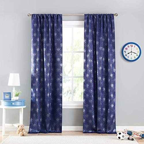 Lala + Bash - Clarice Metallic Texture Blackout Room Darkening Pole Top Window Curtains Pair Panel Drapes for Bedroom, Living Room - Set of 2 Panels - 37 X 84 Inch - Night Sky