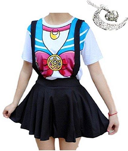 Japanese Harajuku Girl Costume (Fuji Harajuku Sweater Print Japanese Anime Sailor Moon/ Set pendant(XL, white))