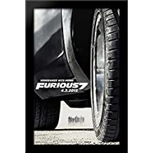 The Fast and the Furious 7 26x40 Large Black Wood Framed Print Movie Poster Art