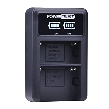 NP-F570 PowerTrust LED Dual Battery Charger for Sony NP-F550 TR917 D800 TR910 F570 TR818 Camera Batteries FM500H FM50 NP-F330 NP F550