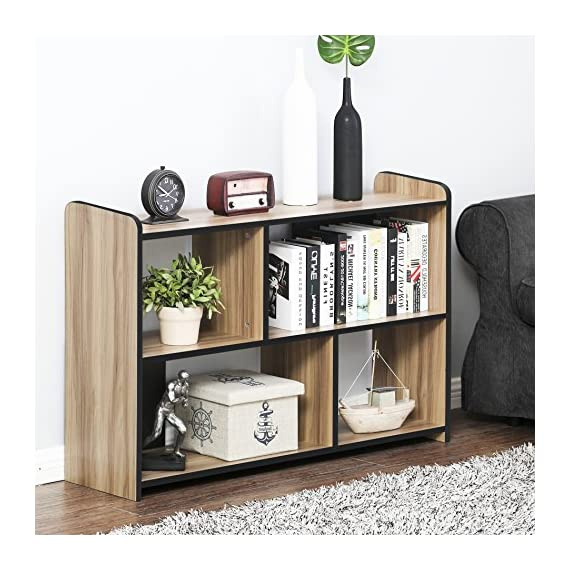 FITUEYES Glass TV Stand for Flat Screen Living Room Storage Shelves Entertainment Center - 【Multifunctional Design】This TV stand is perfect for TVs up to 55 inches, hold up to 150 Ibs tv and you can also put your photo frame and little plant on the top. And 4 open shelves with big capacity 【Classic Appearance】The black wood grain and simple lines on this Fitueyes TV cabinet make this TV stand look classic and elegant. It can be not only used as TV stand, also perfect for sofa table, hallway Table, entry table, entertainment center, media stand, storage console table, etc. 【Easy To Clean】Constructed of high quality material, our TV stand is more sturdy and durable for more years to use. And clean surface with a soft cloth makes your life more simple and convenience - tv-stands, living-room-furniture, living-room - 51V8z6fW4yL. SS570  -