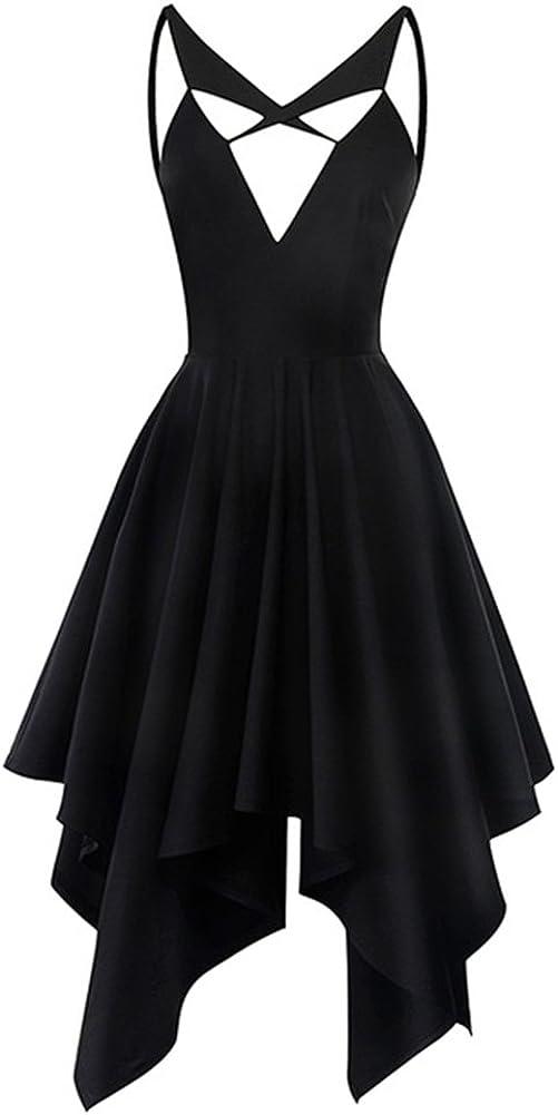 LifeShe Women Summer Backless Gothic Sleeveless Tunic Mini Dress