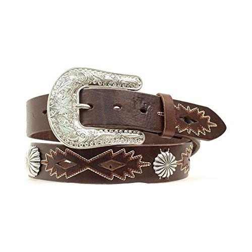 Nocona Women's Southwest Stitched Leather Belt Brown Medium