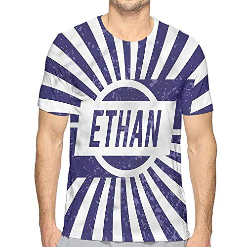 bybyhome t Shirt Printer Ethan,Circle Stripes Boys Name Junior t Shirt XXL -