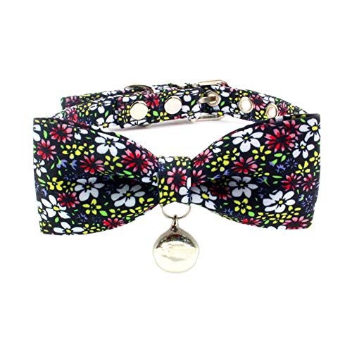 PetFavorites Flower Bowtie Dog Collar, Crystal Dog Birthday Jewelry, Flower Cloth Cat Collar with Bell, Kitten Teacup Puppy Toy Yorkie Chihuahua Clothes Costume Accessories (Pattern E, Size M) -