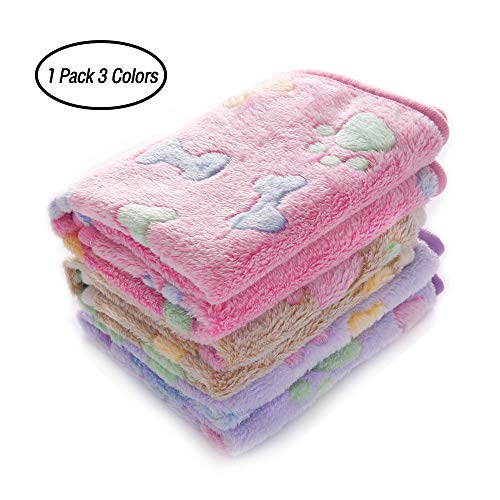 luciphia 1 Pack 3 Blankets Super Soft Fluffy Premium Fleece Pet Blanket Flannel Throw for Dog Puppy Cat Bone Small from luciphia
