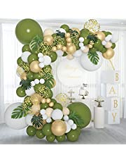 Soonlyn Olive Green Balloon Garland 140 Pcs 18In 12In 10In 5In with Large Leaves, Balloon Arch Kit for Baby Shower Bridal Shower Birthday Party Decorations