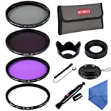 Beschoi 58mm UV Protection Lens Filters Lens Filter Kit with UV CPL FLD ND4 Petal Lens Hood + Center Pinch Lens Cap Cleaning Pen Filter Pouch Bag Collapsible Rubber Lens Hood Cleaning ClothCap Keeper