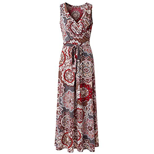 (LYN Star ◈ Women's Summer V Neck Floral Maxi Dress Casual Long Dresses Bohemian Printed Wrap Bodice Crossover Dress Khaki)