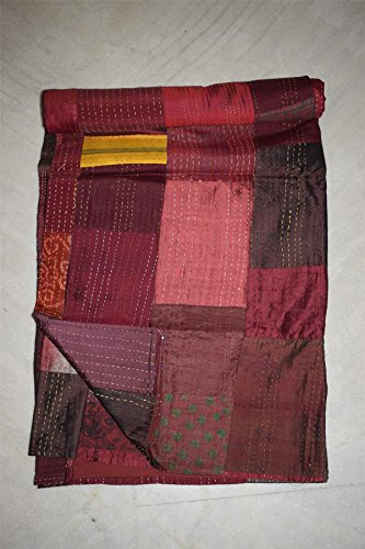 Tribal Asian Textiles Patola Silk Kantha Quilt Bedspread Queen Vintage Bedding Indian Patchwork