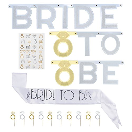 Bachelorette Sash, Banner, Flash Tattoos and Cupcake Toppers - 46 Piece Kit for Bride To Be - Perfect Bridal Shower Party Decorations (Lingerie Shower Invitation)