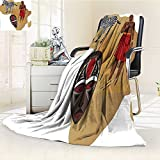 Digital Printing Blanket Safari Africa Map and Tribal Cultural Symbols with a Native Local Man Art Work Print Summer Quilt Comforter