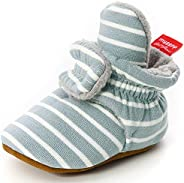 Unitysow Unisex-Baby Newborn Fleece Boots Coral Velvet Warm Booties Cozy Baby Bootie Socks Soft Non-Slip Grips
