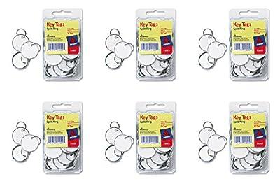 Avery Metal Rim Key Tags, Card Stock/Metal, White, 50 per Pack (11025)