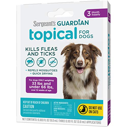 Sergeant's Guardian Flea & Tick Squeeze On Topical for Dogs, 33-66 lbs, 3 Count