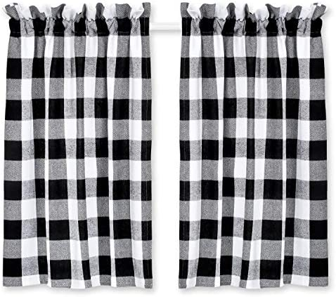 Cackleberry Home Black and White Buffalo Check Cafe Curtains Woven Fabric 28 Inches W x 30 Inches L, Set of 2