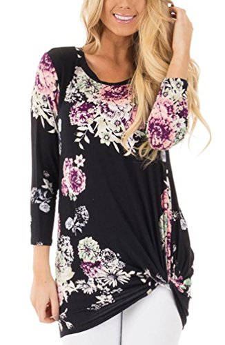 Floral Print Button Front Shirt (Sisiyer Women's 3/4 Sleeve Floral Print Twist Front Top Blouse Casual Knot Shirt Black X-Large)