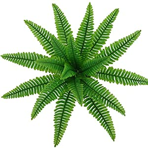 Homyl Artificial Green Fern Leaves with Long Stem Vines Foliage Simulation Leaves Fake Leaves Potted Plants Home Tabletop 103