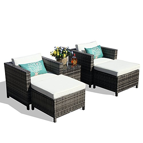 Outdoor Patio Furniture Set, 5-Piece All-Weather Grey Wicker Furniture Sectional Sofa Set Ottoman, 2 Armchair Glass Coffee Table,Steel Frame, White Cushions
