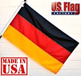 US Flag Factory 3'x5' Germany German Flag (Sewn Stripes, Header & Grommets) - Outdoor SolarMax Nylon - 100% Made in America - Premium Quality