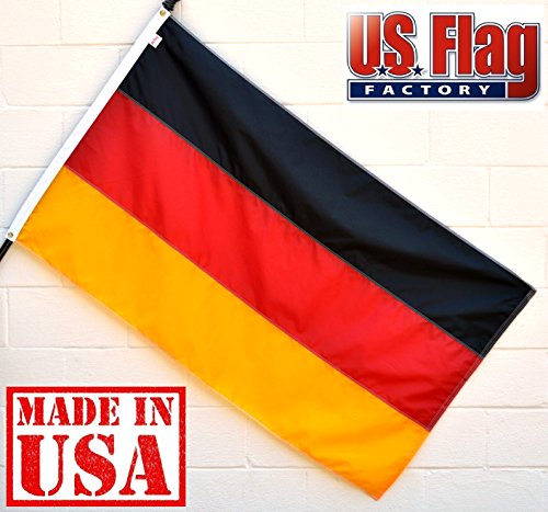 US Flag Factory 5'x8' Germany German Flag (Sewn Stripes, Header & Grommets) - Outdoor SolarMax Nylon - 100% Made in America - Premium Quality (Headers Factory)