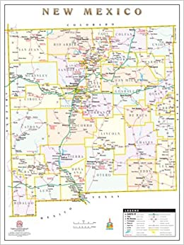 New Mexico Counties & Roads Wall Map Dry Erase Laminated: Phoenix ...