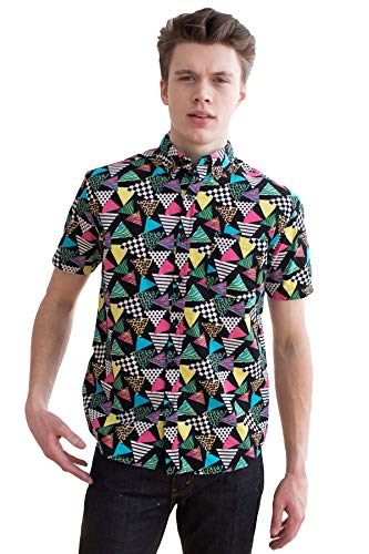 Ragstock Men's Casual Button-Up Icon-Printed Woven Shirts (Medium, 80s-Triangle-2109)