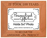 Cheap 100th Birthday Gift Took 100 Years Awesome Natural Wood Engraved 5×7 Landscape Picture Frame Wood