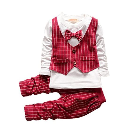 Baby Boy Christmas Outfits Clothes Set Toddler Boys Autumn Clothing Set Red90(1-2Years)