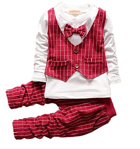 Baby Boy Christmas Outfits Clothes Set Toddler Boys Autumn Clothing Set Red,90(1-2Years) -