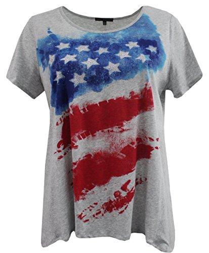 Women's Plus-Size Short Sleeve American Flag Fashion Blouse Tee T Shirt Top Gray 1X G170.20L-4