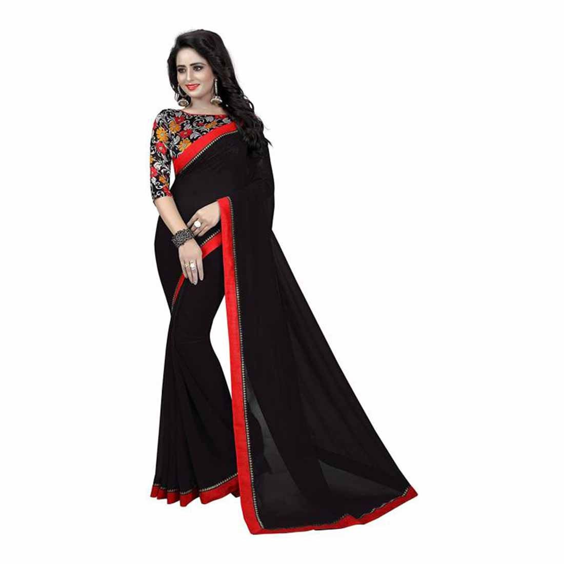 Plain Bollywood Georgette Saree (Black) Indian Handicrfats Export FKSAR-0182