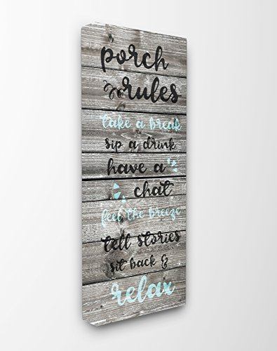 Stupell Home Décor Porch Rules Rustic Blue Sit Back and Relax Stretched Canvas Wall Art, 10 x 1.5 x 24, Proudly Made in USA