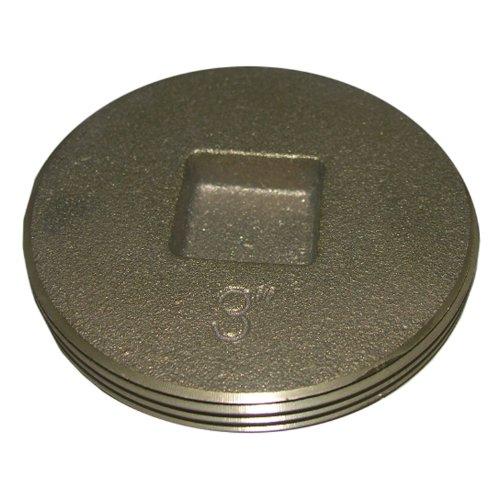 Countersunk Plug - LASCO 33-3206 Countersunk Square Head Light Brass Cleanout Plug, 3-Inch
