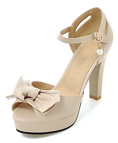 eee290c9ad78 Aisun Women s Beaded Bowknot Buckled Peep Toe Dressy Chunky High Heel  Platform Sandals Shoes with Ankle