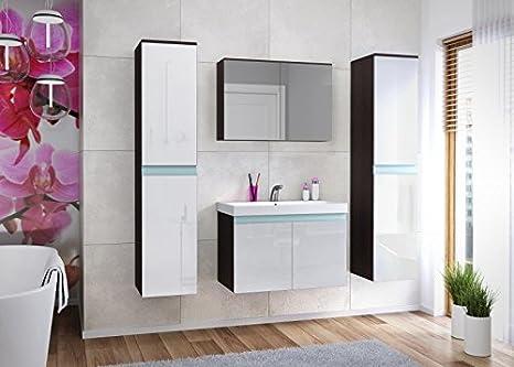 Küchen-Preisbombe Top de muebles de baño Juego baño habitaciones 5tlg. Brillante color blanco