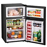 Bossin 1.62 CU. FT Compact Refrigerator MIni Fridge with Bottle Opener Chiller and Freezer Compartment Small Drink Food Storage Machine for Office, Dorm, Apartment, Bedroom