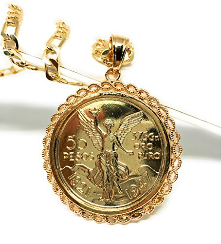 Fran & Co. Gold Plated Mexican Coin Centenario Mexicano Moneda 50 Pesos Pendant Chain 26""