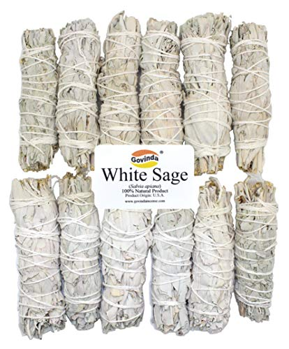 Govinda - 12 Pack - Premium California White Sage Smudge Sticks, Each Stick Approximately 4 Inches Long by Govinda
