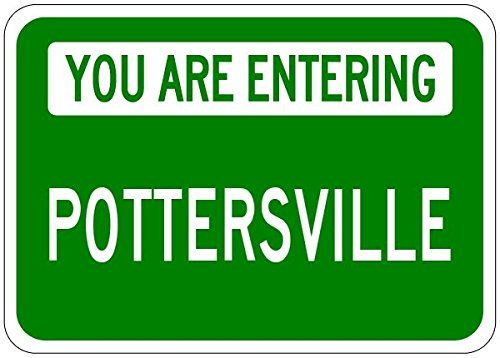 Metal Signs You Are Entering Pottersville   Customized  Potters  Lastname   8 X12  Quality Aluminum Sign