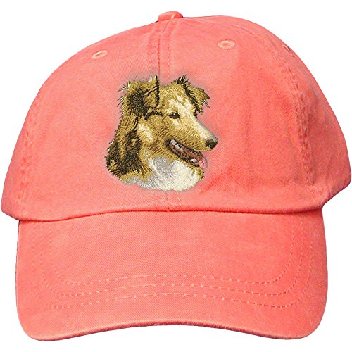 (Cherrybrook Dog Breed Embroidered Adams Cotton Twill Caps - Coral - Shetland Sheepdog)