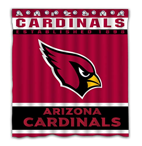 (Potteroy Arizona Cardinals Team Design Shower Curtain Waterproof Polyester Fabric 66x72 Inches)