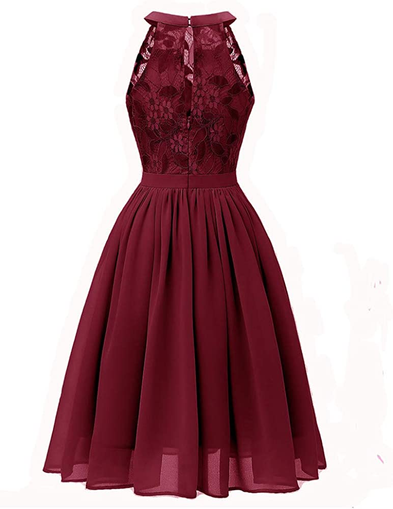 Women Vintage Floral Lace Princess Dress Jewel Neck Swing Dress for Cocktail Evening Prom Party