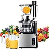 Aobosi Slow Juicer Masticating Juicer 80mm(3.15inch) Wide Mouth Juice Extractor Cold Press Machine Quiet Motor High Nutrient Fruit & Vegetable Juice with Juice Jug & Cleaning Brush