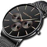 Mens Black Watches Men Sport Waterproof Thin Mesh Wrist Watch Day Date Calendar Luxury Watches for Men